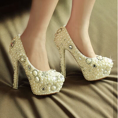 2016 New Style Slipper wedding shoes Pearl wedding shoes High heel shoes Diamond shoes  dress shoes Formal Shoes Party Shoes<br><br>Aliexpress