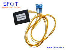FTTH 1*4 PLC Fiber Optical Splitter, ABS packing type, with SC/LC/ST/FC connector, can be used for GPON EPON OLT
