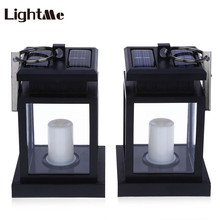 Lightme 2PCS Candle Lantern Solar Power LED Lamp Light Landscape Umbrella Tree LED Wall Lantern Garden Decoration Light(China)