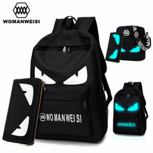 2017 Fashion Brand Women Male Anime Schoolbag For Teenage Girls Boy Popular Computer Laptop Backpack Female Men Luminous Bagpack(China)