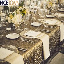 NICETOWN Luxury Glitter Sparkling Solid Color Sequin Table Cover for Party /Wedding /Banquet  Table Cloth Table Decoration