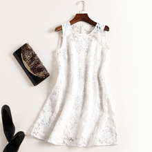 fashion women girls heavy handmade beading white lace dress sleeveless cute mini shift dresses blue