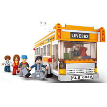 457Pcs/Set SimCity Trolley Buses Building Blocks City Series Bus Station Scene Simulation Educational Assemble Toys For Children