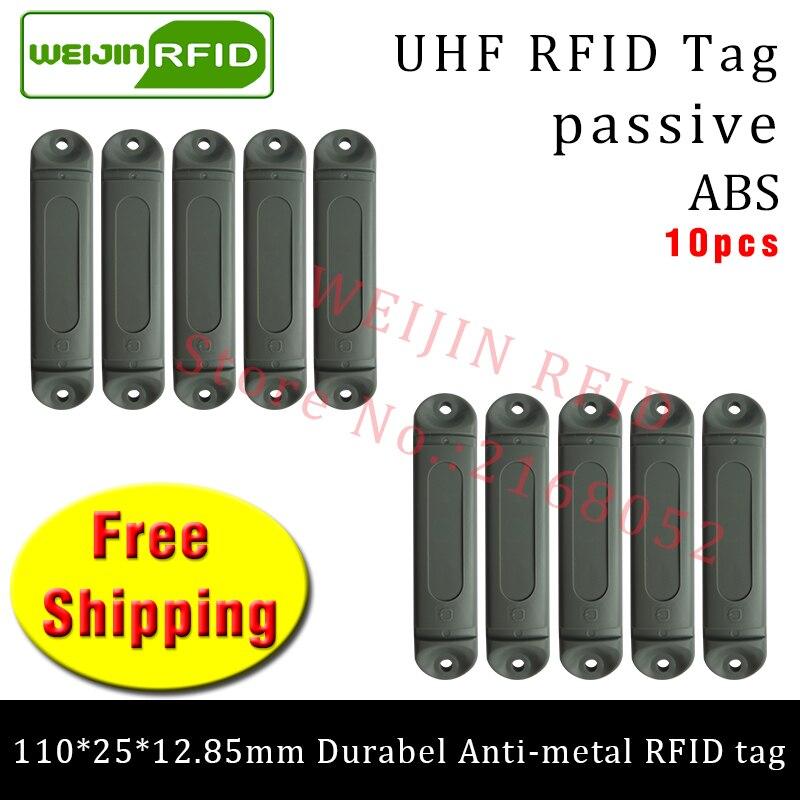 UHF RFID anti metal tag 915m 868m M4QT 110*25*12.85mm 10pcs free shipping durable ABS Steel bracket tray smart passive RFID card<br>