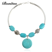 [Bonitus Jewelry Store]2017New Arrival Fashion Statement Necklaces Round Nature Stone Pendant For Women Choker Necklaces 06N3158(China)