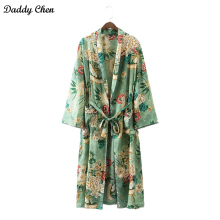 2017 summer hot Beach long Kimono Cardigan femme Women robe Floral Blouse shirt kimonos feminino satin Fashion Green leaf flower