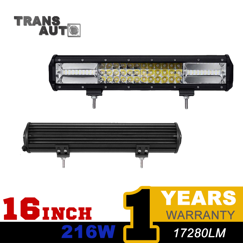 TRANSAUTO 3-row 16inch 216W LED Work Light Bar Offroad Driving Lamp Combo Beam for Jeep Truck SUV ATV Car 4x4 4WD 12v 24v<br><br>Aliexpress