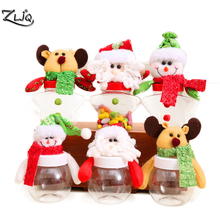 ZLJQ Merry Christmas Candy Jar Santa Claus Snowman Elk Cloth Art Candy Box Kids Xmas Gift Canes Christmas Decoration for Home 8D(China)