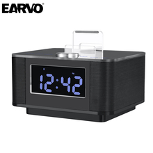 K5 LCD Screen Alarm Clock Dock Station Stereo 2.0 Music Subwoofer Bluetooth Handsfree Speaker Support AUX Dual USB Snooze Mute