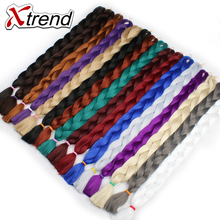 Xtrend Synthetic Braiding Hair Extension 165g 82'' Long Kanekalon Jumbo Braids Crochet Hair Heat Resistant Black Brown Gray Blue