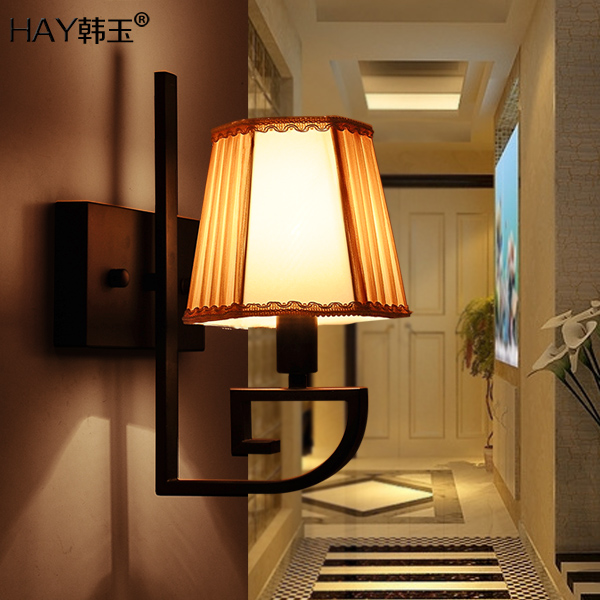 New chinese style bedside wall lamp balcony wrought iron wall lamp vintage cloth stair wall lamp<br><br>Aliexpress