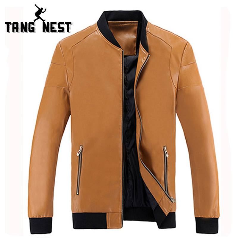TANGNEST Spring Autumn Men Leather Jacket 2018 Hot Sale Solid Color Men PU Leather Jacket Mandarin Collar Zipper Jacket MWP431