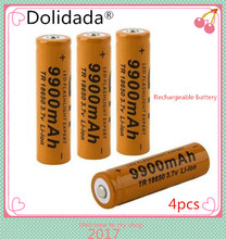 4pcs/set Brand New 18650 battery 3.7V 9900mAh rechargeable li-ion battery for Led flashlight Torch cell 18650 batery