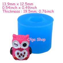 DYL177 13.9mm Cute 3D Owl Silicone Mold - 3D Animal Mold Miniature Sweets Candle, Gum Paste, Candy, Jewelry, Resin, Chocolate