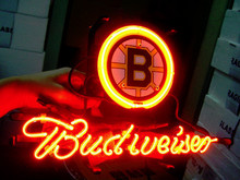"Business NEON SIGN board For BOSTON BRUINS HOCKEY FOOTBALL Basketball Real GLASS Tube BEER BAR PUB Club Shop Light Signs 17*14""(China)"