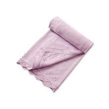 Brand Quality 100%Cotton newborn infant baby girl knitted blanket swaddle solid Light Purple comfortable baby bedding 73*71cm