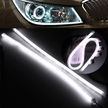2PCS 45CM Gel Silicon Pure White Flexible Soft Tube Guide IP65 3020 SMD 57 LED Car Strip Lamp DRL Daytime Running Light DC12V(China)