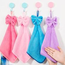Dishcloths Soft Kitchen Hand Towel Cartoon Cute Bowknot Hanging Plush Soft Dish Towel Washcloth Wiping Washing Cleaning Cloth