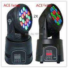 2pcs/lot Fast Shipping 18x3w RGB CREE LED mini Moving Head Light Moving Head Wash Light For Event,Disco Party Nightclub