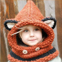 Baby Hat Handmade Wool Hat Collars Fox Paragraph Gray / Orange Hat Scarf Piece Black Wooden Buckle Cat Hat + Scarf for Infant
