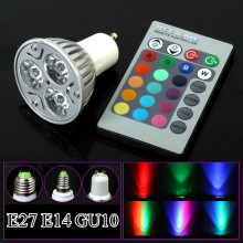 E27 GU10 E14 RGB Led Bulb Lamp AC110V 220V 230V LED Spot light Party Decoration RGB Lighting IR Remote Control 16 Color