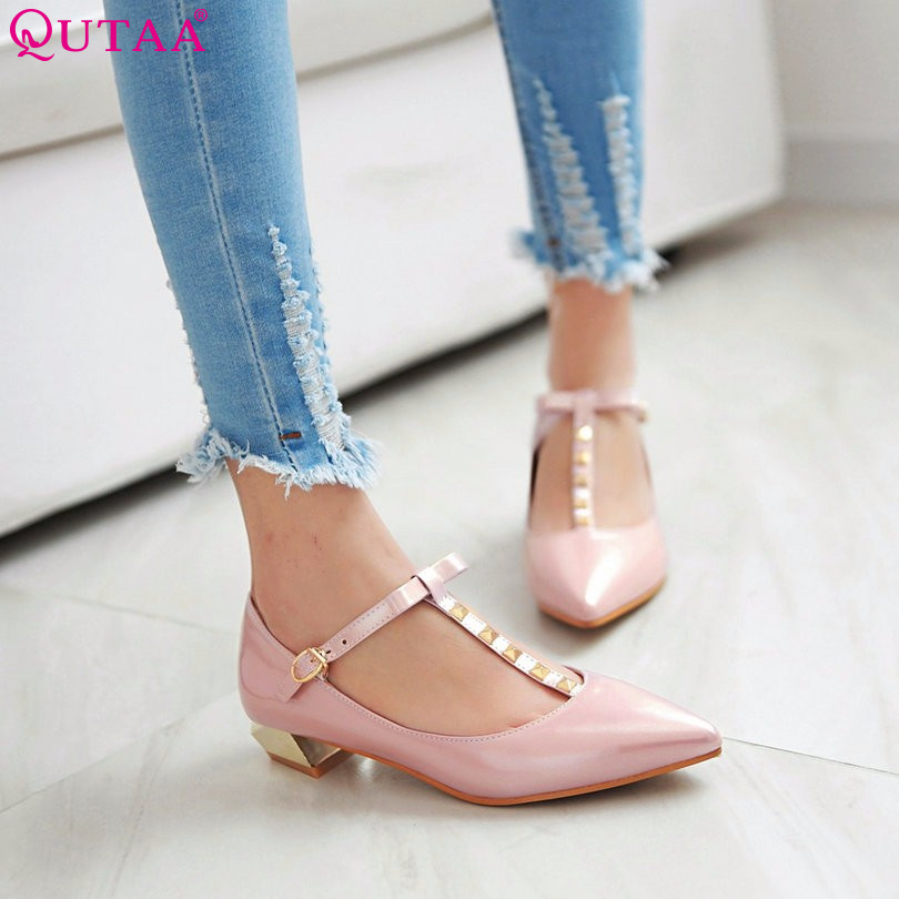 QUTAA Pink PU leather Square Med Heels Pointed Toe Woman Pump  Rivet T-strap Ladies Shoes Women Wedding Shoe size 34-43<br><br>Aliexpress