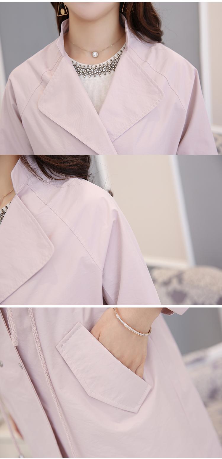 WAEOLSA Fashion Woman\'s Basic Trench Coat Green Pink Khaki Overcoats Women Double-breasted Duster Coats Autumn Trench Lady (9)