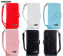 ANSHOW Crocodile Leather Wallet Case For Iphone X/8/7/6 6S/Plus/SE 5 5S/Galaxy S8 Fashion Snake Croco PU Cover Card Pouch 40pcs(China)