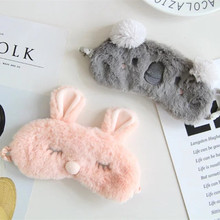 Aeruiy soft plush fuzzy cartoon animal gray koala pink bunny rabbit 3D sleeping eye masks toy, creative birthday gift for family(China)