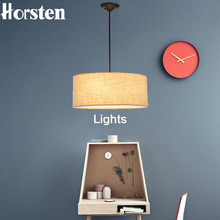 Horsten Simple Modern Round Fabric Pendant Lamp For Dining Room Lamparas Colgantes Nordic Bedroom Black White Hanging Lights(China)