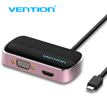 Vention Type-C Input VGA/HDMI/USB 3.0 Output Splitter, 1 to 3 Type C to 3 out 4k for macbook pro notebook screen display HUB