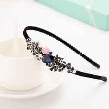 Fashion Antique Bow Headbands jewelry Butterfly Decorated Accessories For Women Blue New Year Girls Hair Hoops Gift(China)