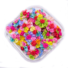 100pcs Pet Dog Hair Accessories Rubber Bands Rose Dog Hair Bows Dog Grooming Bows for samll dogs