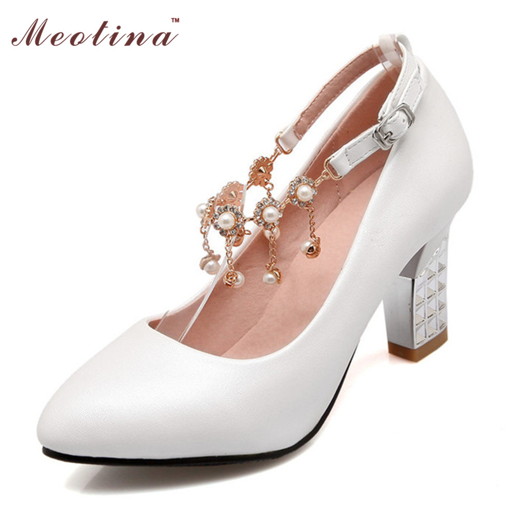 Shoes Women Pumps White Wedding Shoes Bridal Shoes Pointed Toe Ankle Strap Heels Beading Party Pumpsl Blue Pink Size 9 10<br><br>Aliexpress