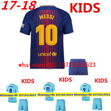 NEW TOP BARCELONAS Top quality Thai AAA Qualit KIDS Messis Soccer jersey Kit 2017-18 Home Away 3RD green men shirt Short-sleeves(China)