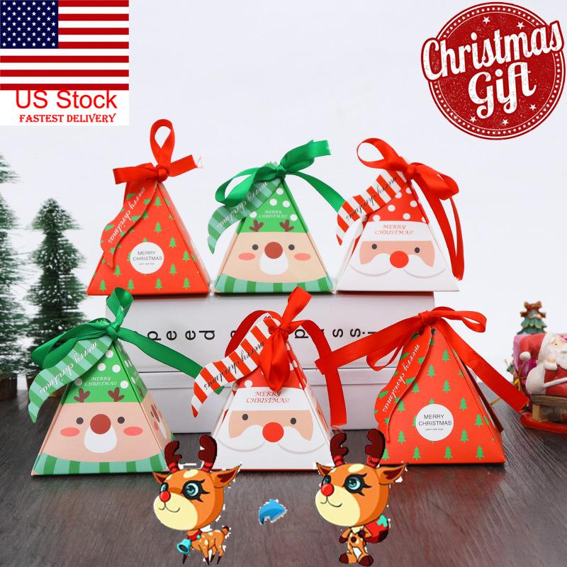 Us 10x Christmas Candy Box Bag Christmas Tree Elk Santa Gift Box Paper Gift Bag
