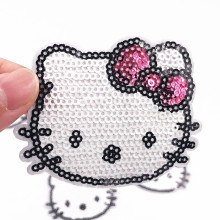 10PCS Hello kitty  Iron on Embroidered Clothes Patches For girls Badges Stickers Garment Apparel Accessories sew-on sequins