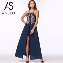 Buy Anself Shoulder Beach Summer Dress 2017 Sexy Halter Women Floral Embroidery Maxi Dress Elegant Long Party Dresses Vestidos