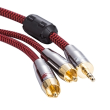 "3.5mm to 2 RCA Audio Cable for PC TV Phone Car Amp Subwoofer Speaker 1/8"" Mini Jack 3.5 RCA AUX Cable OFC 75cm 1M 2M 3M 5M 8M(China)"