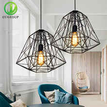 Loft Pendant Lamp Black Iron Diamond Cage Shape Light E27 Edison Bulb Industrial Home Decor Lighting for Living Room Coffee Bar