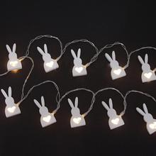 10-LEDs Battery Powered Wooden Easter Rabbit Easter Bunny Shape String Light For Easter Party Holiday Festival Decoration