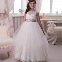 Delicate Flower Girl Dresses 2015 New Jewel Sash Lace Pageant Dresses For Teens Girls Tulle Button Princess Kids Party Gown