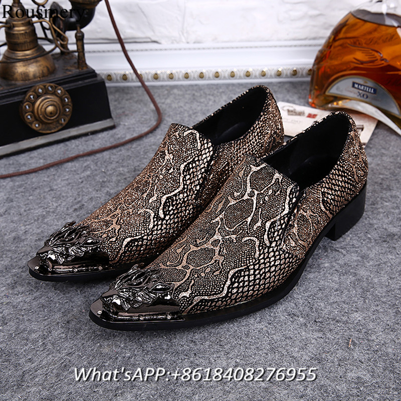 2017 Fashion New Man Shoes Snake Print High Heel Shoes Man Pointed Toe British Style Iron Toe Cow Skin Leather Man Casual Shoes<br><br>Aliexpress