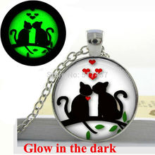 Glow in the dark Necklace Pendants,Hearts Cats on Tree Valentine Gift  Necklace, Glass Art Photo  Glowing Jewelry  Jewelry