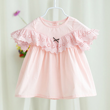 2017 Summer New Baby Girl Cotton Lace Dress Petal Sleeve Pink Angel Princess Short Dress Back Botton Top Infant Clothing 6m 24m