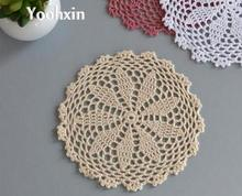 Modern Round lace cotton table place mat pad DIY crochet cup mug holder handmade coaster placemat doilies kitchen Accessories(China)