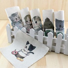 Teacup cat diy felt linen cotton fabric cloth dolls for sewing patterns crafts handicraft printed material patchwork bag fabric