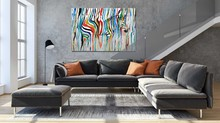 New Abstract Colourful Rainbow Zebra Animal Wall Art Hand Painted Oil Painting Big Size Home Living Room Decoration