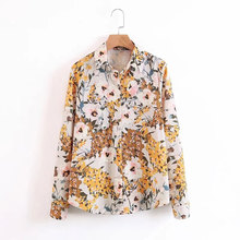 Dioufond Floral Printed Shirt Turn-down Collar Cotton Loose Blouse Long Sleeve Casual Blouses Yellow Women Tops Fashion New(China)
