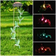 Automatic Color Chaning Led Lamp Beads Beautiful Hummingbird Wind Chimes(China)